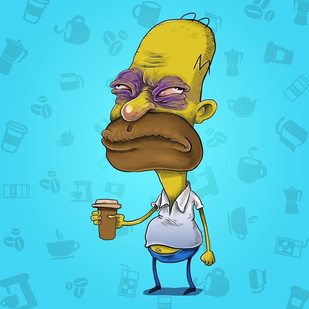 Illustrations : Les personnages de dessins animés avant leur café 2