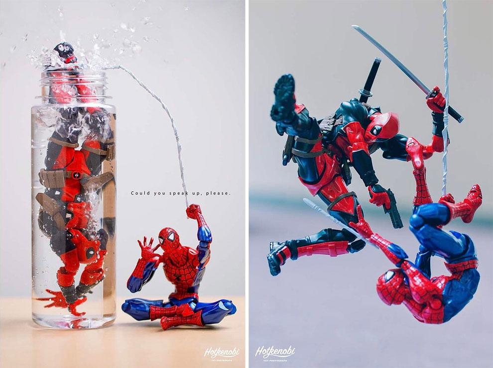 Photographies : Des figurines de super-héros en action 5