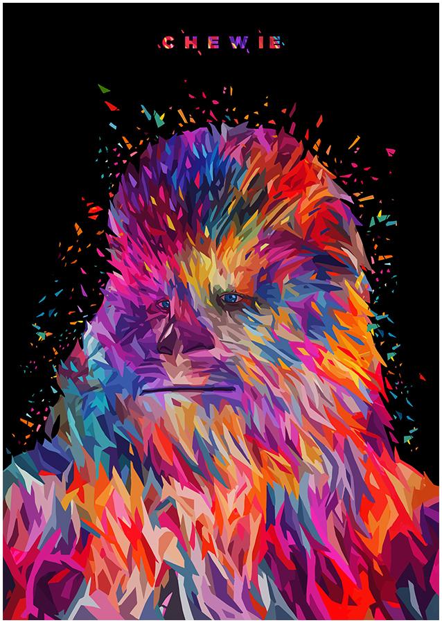 Illustrations lowpoly : Les portraits Star Wars prennent de la couleur 7