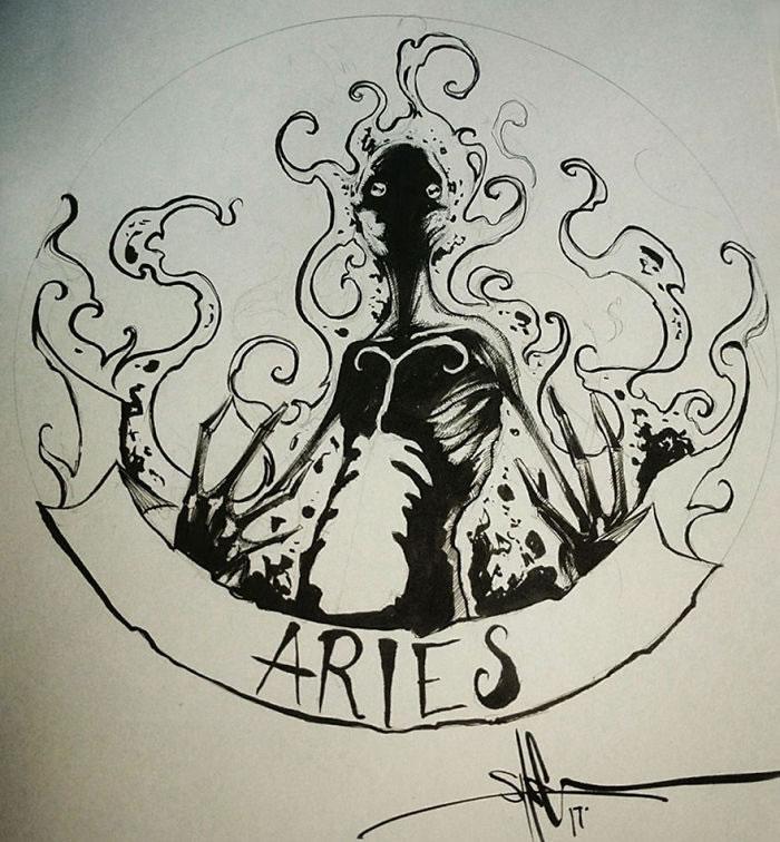 "Illustrations - Les Signes du zodiaque version ""Dark"" par Shawn Coss 9"