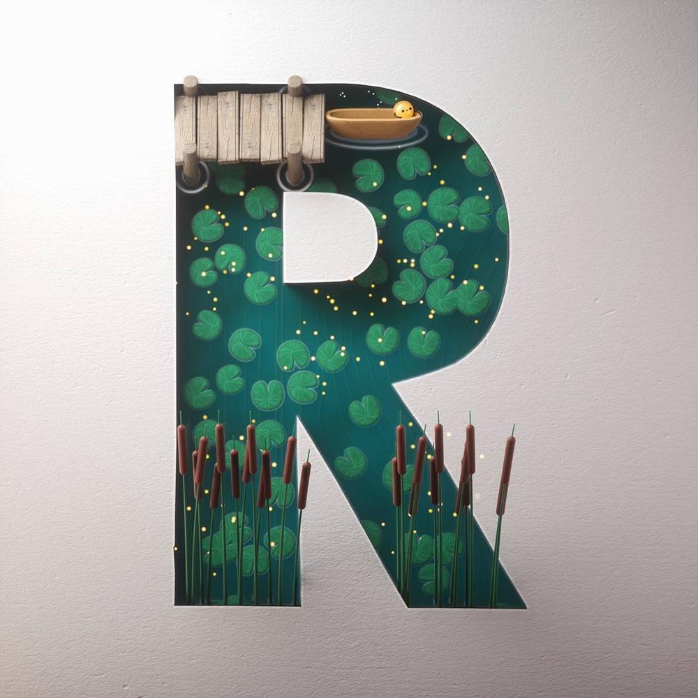 Magnifiques lettres de typographie de l'alphabet par Luke Doyle 14