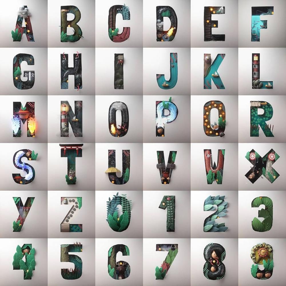 Magnifiques lettres de typographie de l'alphabet par Luke Doyle 2