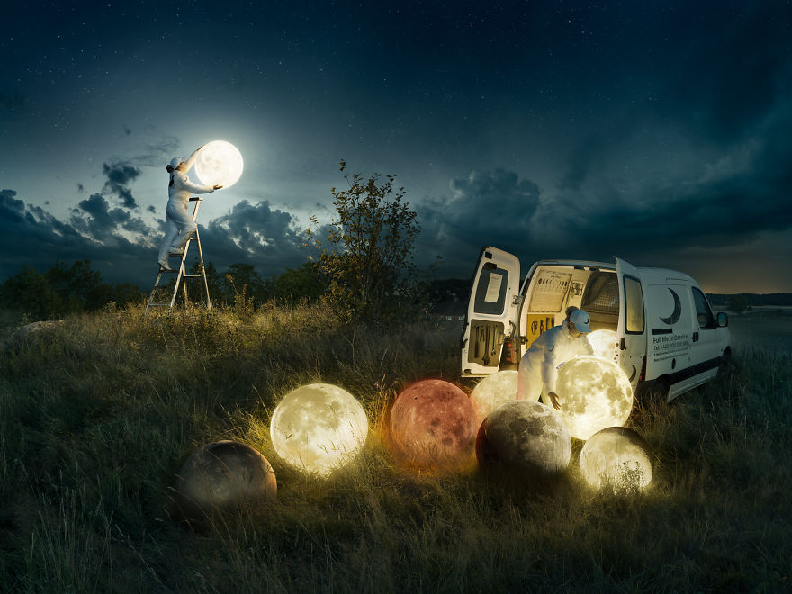 "Skill Photoshop : 8 mois pour 1 photomontage d'un ""moon service"" 4"