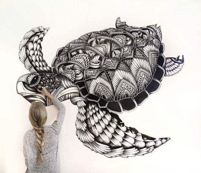 Les découpes papiers d'animaux prennent forme sur de vrais paysages 2