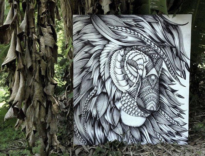 Les découpes papiers d'animaux prennent forme sur de vrais paysages 5