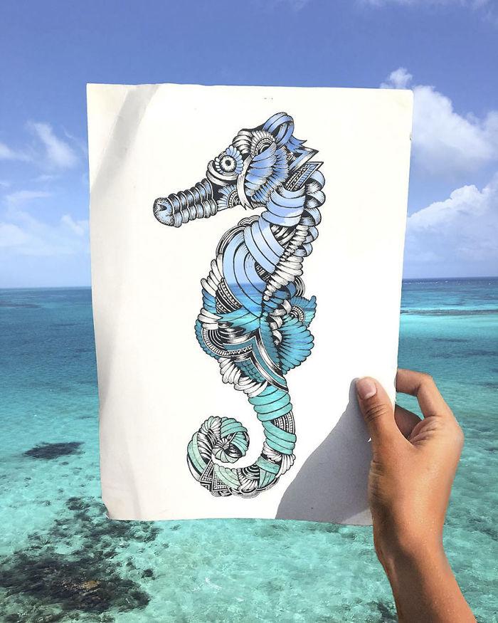 Les découpes papiers d'animaux prennent forme sur de vrais paysages 6