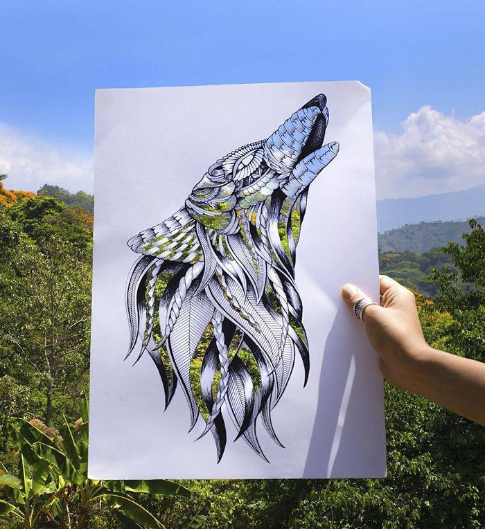 Les découpes papiers d'animaux prennent forme sur de vrais paysages 7