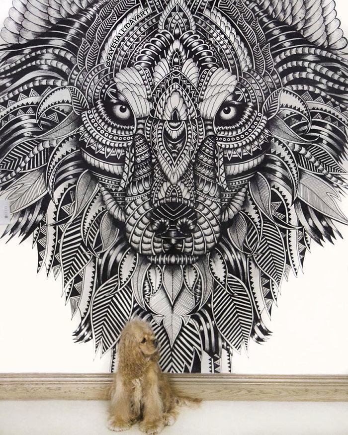 Les découpes papiers d'animaux prennent forme sur de vrais paysages 9