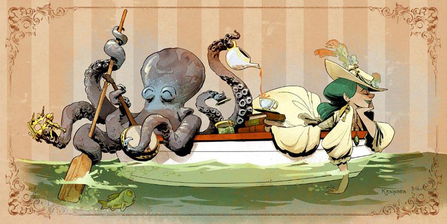 L'illustrateur de chez Disney imagine un monde avec une pieuvre trop mignonne 2
