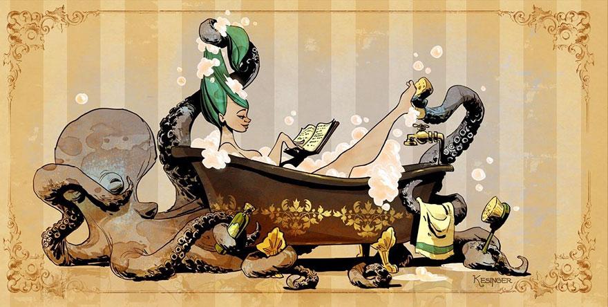 L'illustrateur de chez Disney imagine un monde avec une pieuvre trop mignonne 3