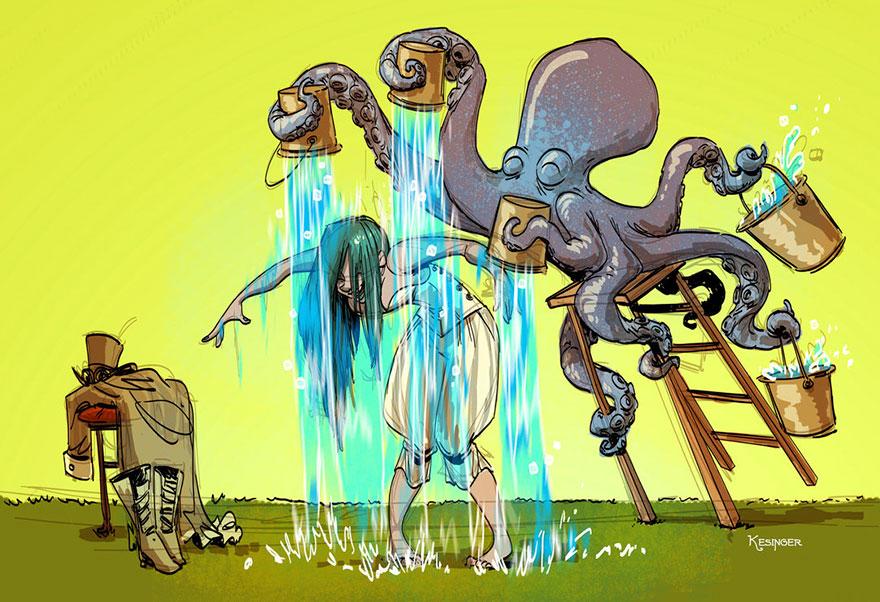 L'illustrateur de chez Disney imagine un monde avec une pieuvre trop mignonne 4