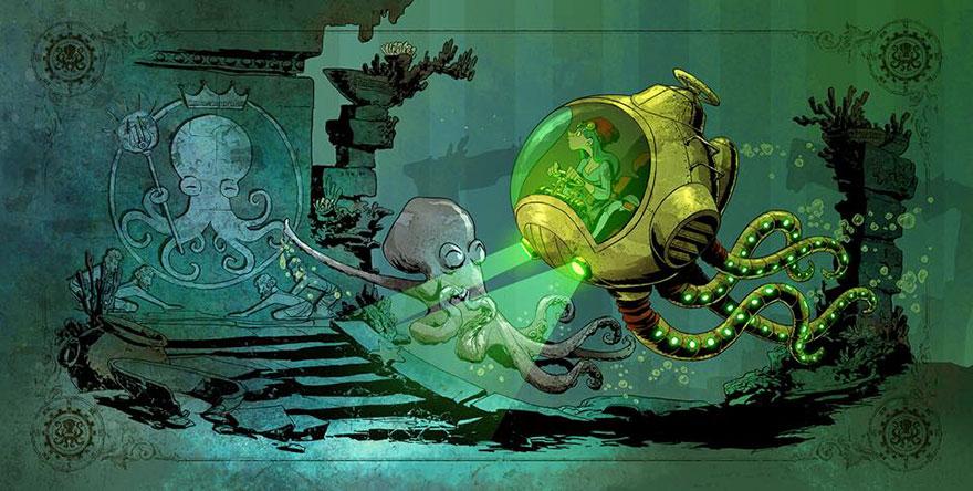 L'illustrateur de chez Disney imagine un monde avec une pieuvre trop mignonne 7