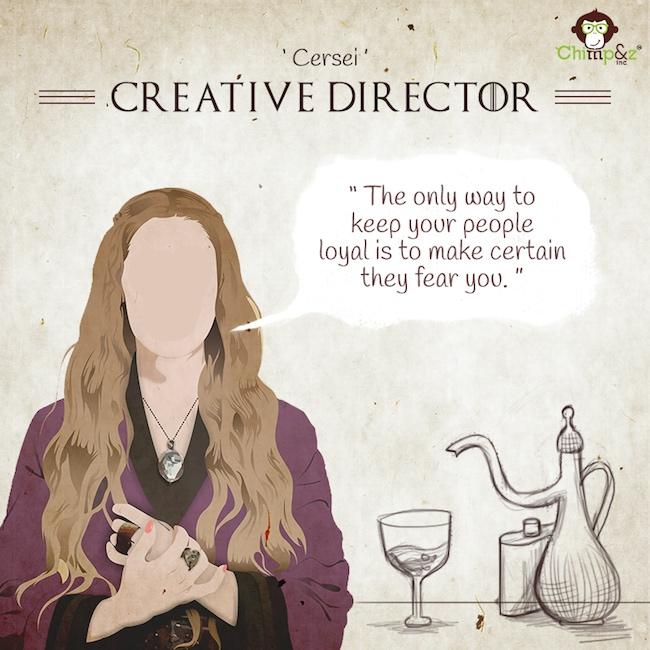 Les postes des personnages de Game of Thrones dans une agence de pub 2
