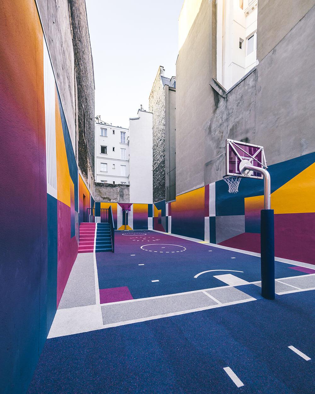 Street-art : Un terrain de Basket magnifique à Paris 5