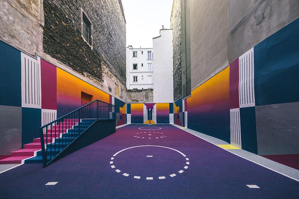 Street-art : Un terrain de Basket magnifique à Paris 6
