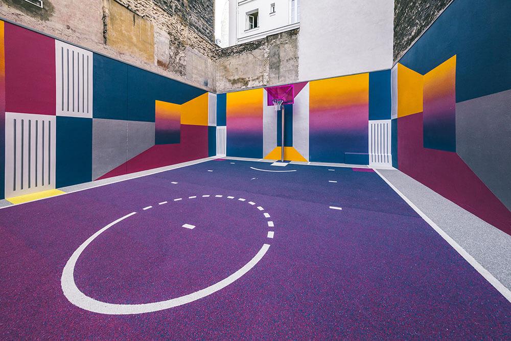 Street-art : Un terrain de Basket magnifique à Paris 8