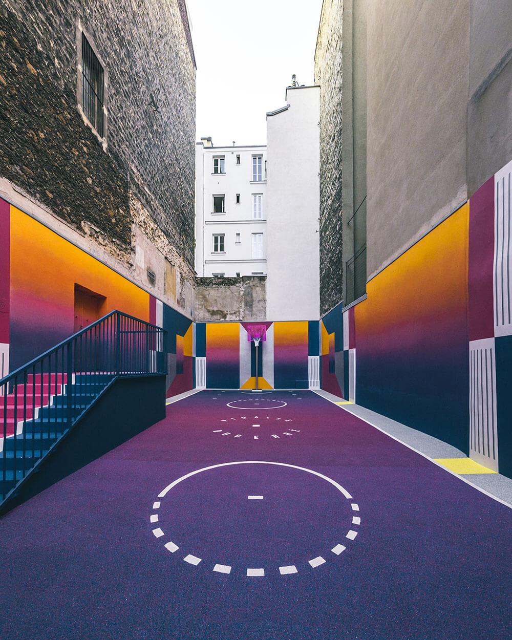 Street-art : Un terrain de Basket magnifique à Paris 9