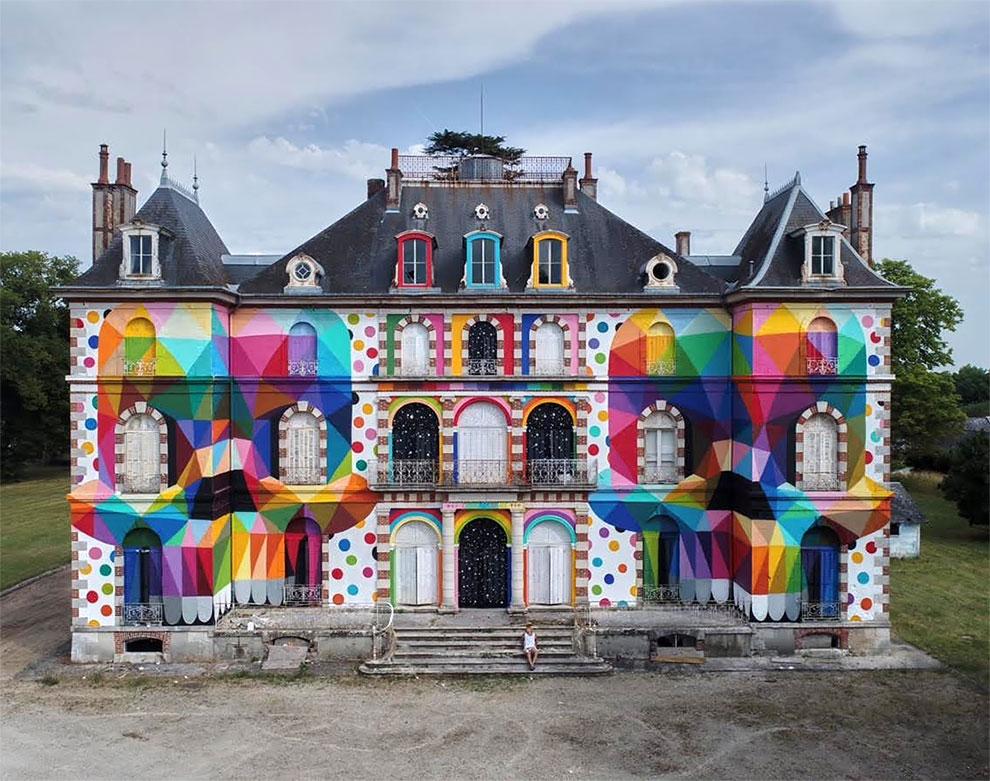 StreetArt - Une peinture géante sur le Château de La Valette de Pressigny-les-Pins 2
