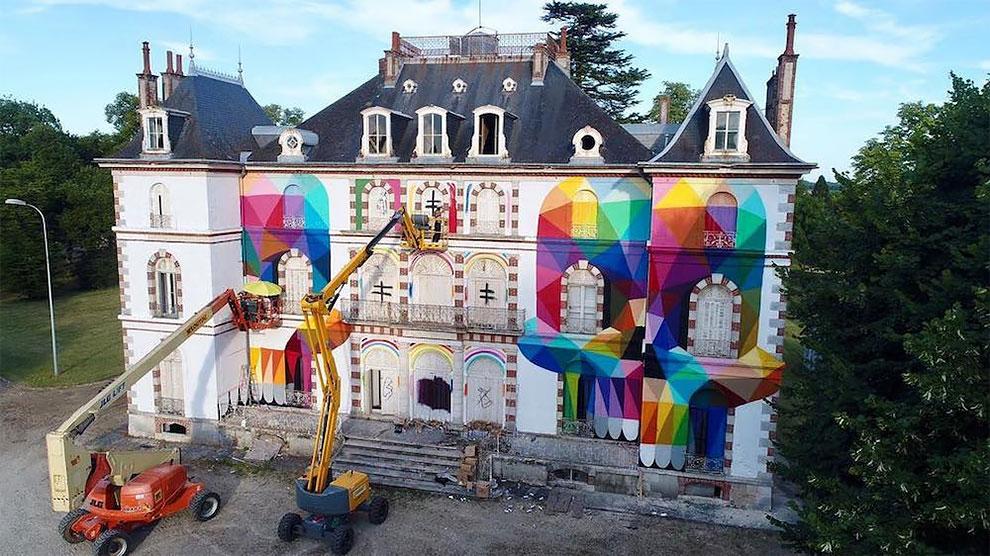 StreetArt - Une peinture géante sur le Château de La Valette de Pressigny-les-Pins 3