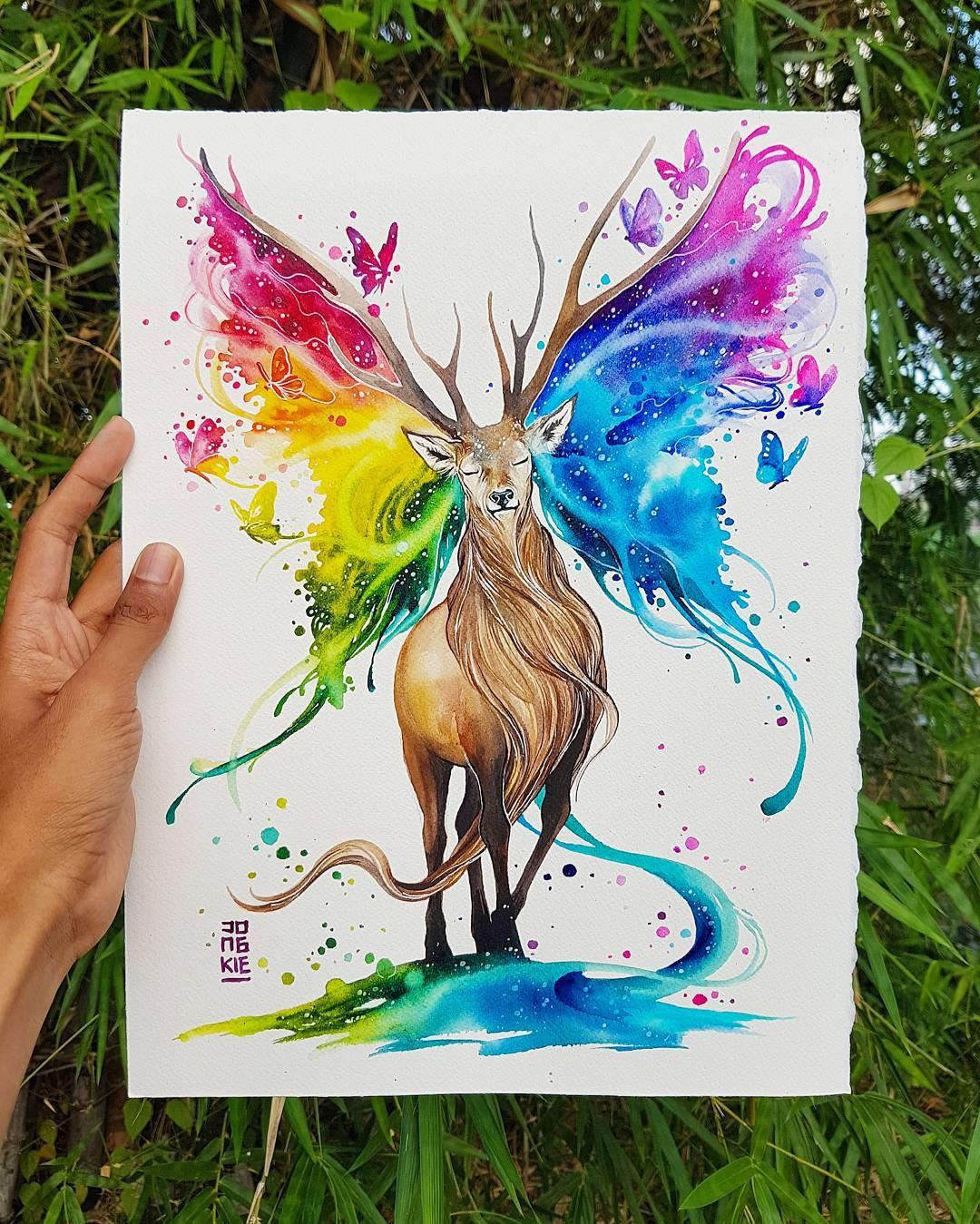 [Aquarelles] Les illustrations d'animaux magnifiquement colorées de Jongkie 29