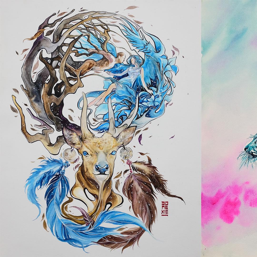 [Aquarelles] Les illustrations d'animaux magnifiquement colorées de Jongkie 11