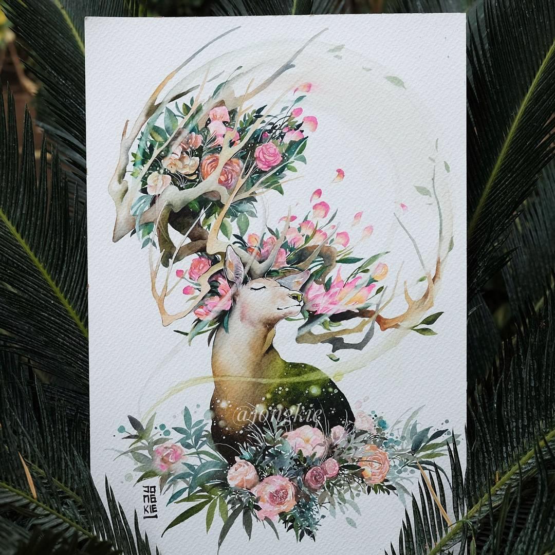 [Aquarelles] Les illustrations d'animaux magnifiquement colorées de Jongkie 12