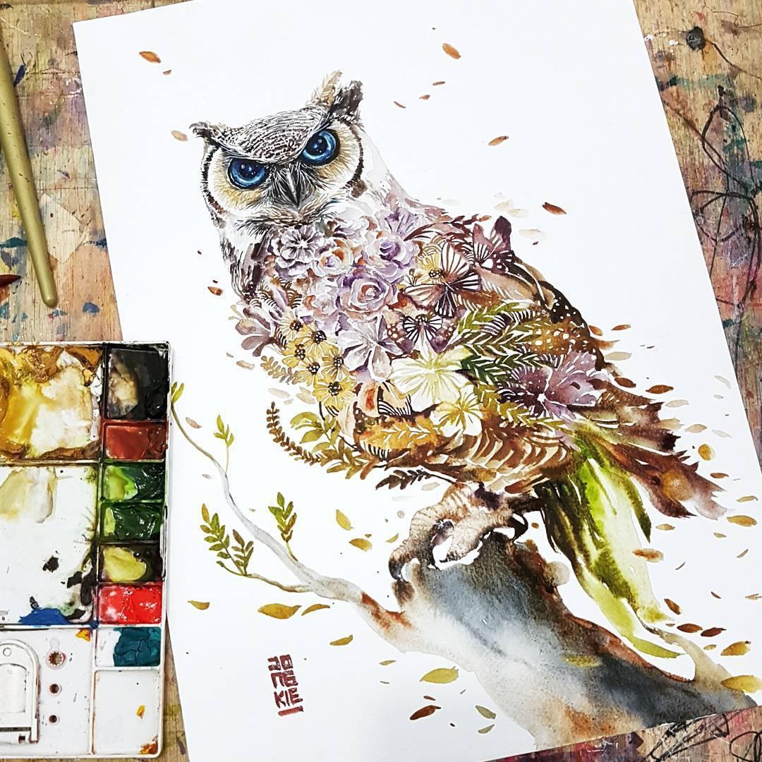 [Aquarelles] Les illustrations d'animaux magnifiquement colorées de Jongkie 14
