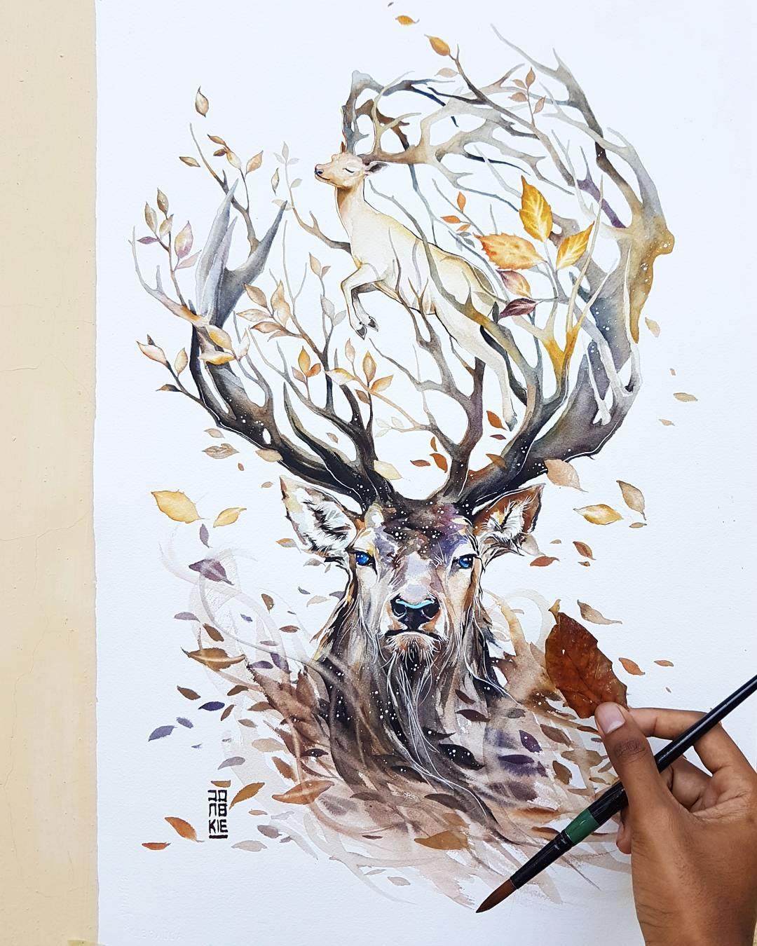 [Aquarelles] Les illustrations d'animaux magnifiquement colorées de Jongkie 15