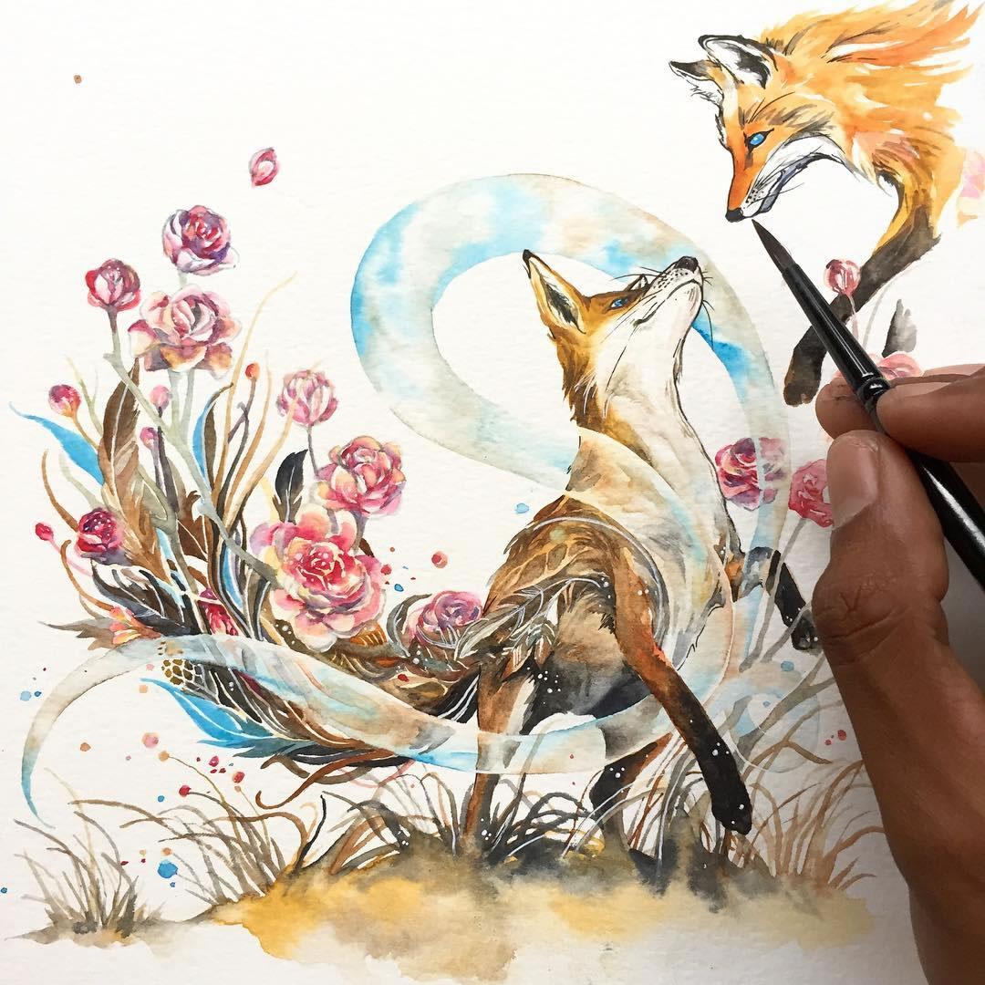 [Aquarelles] Les illustrations d'animaux magnifiquement colorées de Jongkie 18