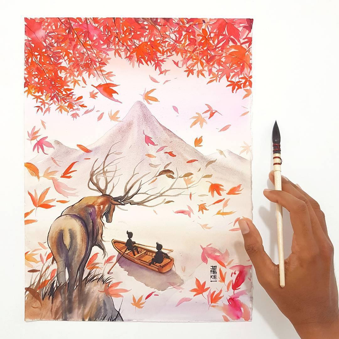 [Aquarelles] Les illustrations d'animaux magnifiquement colorées de Jongkie 21