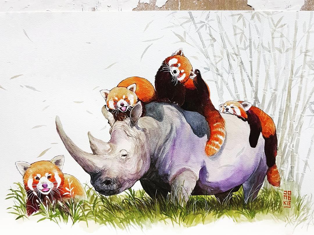 [Aquarelles] Les illustrations d'animaux magnifiquement colorées de Jongkie 24