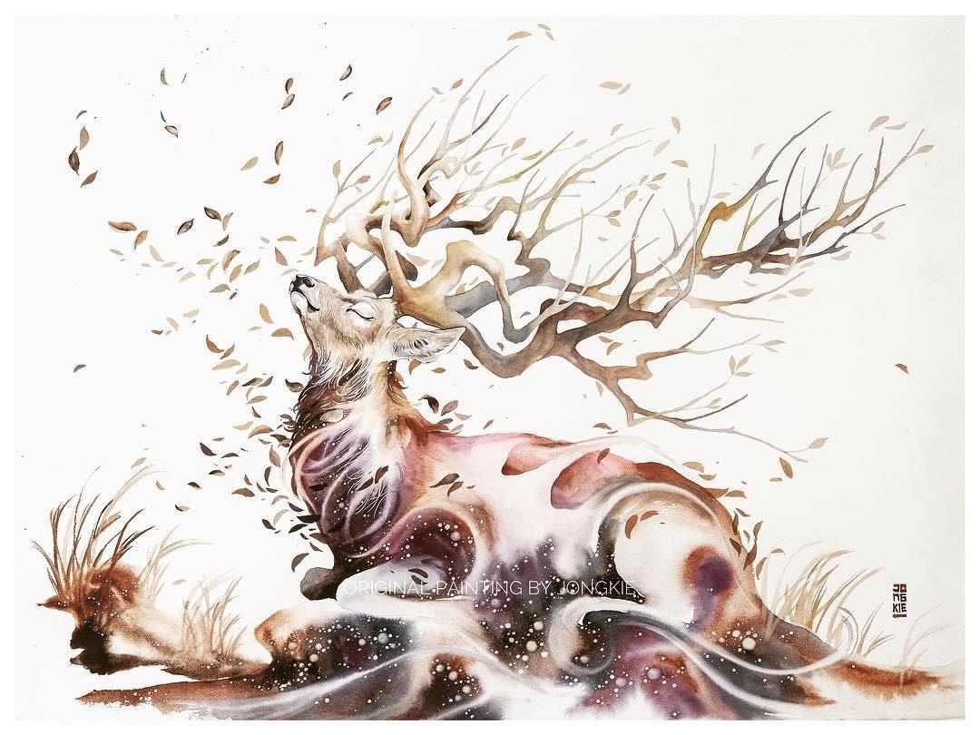 [Aquarelles] Les illustrations d'animaux magnifiquement colorées de Jongkie 27