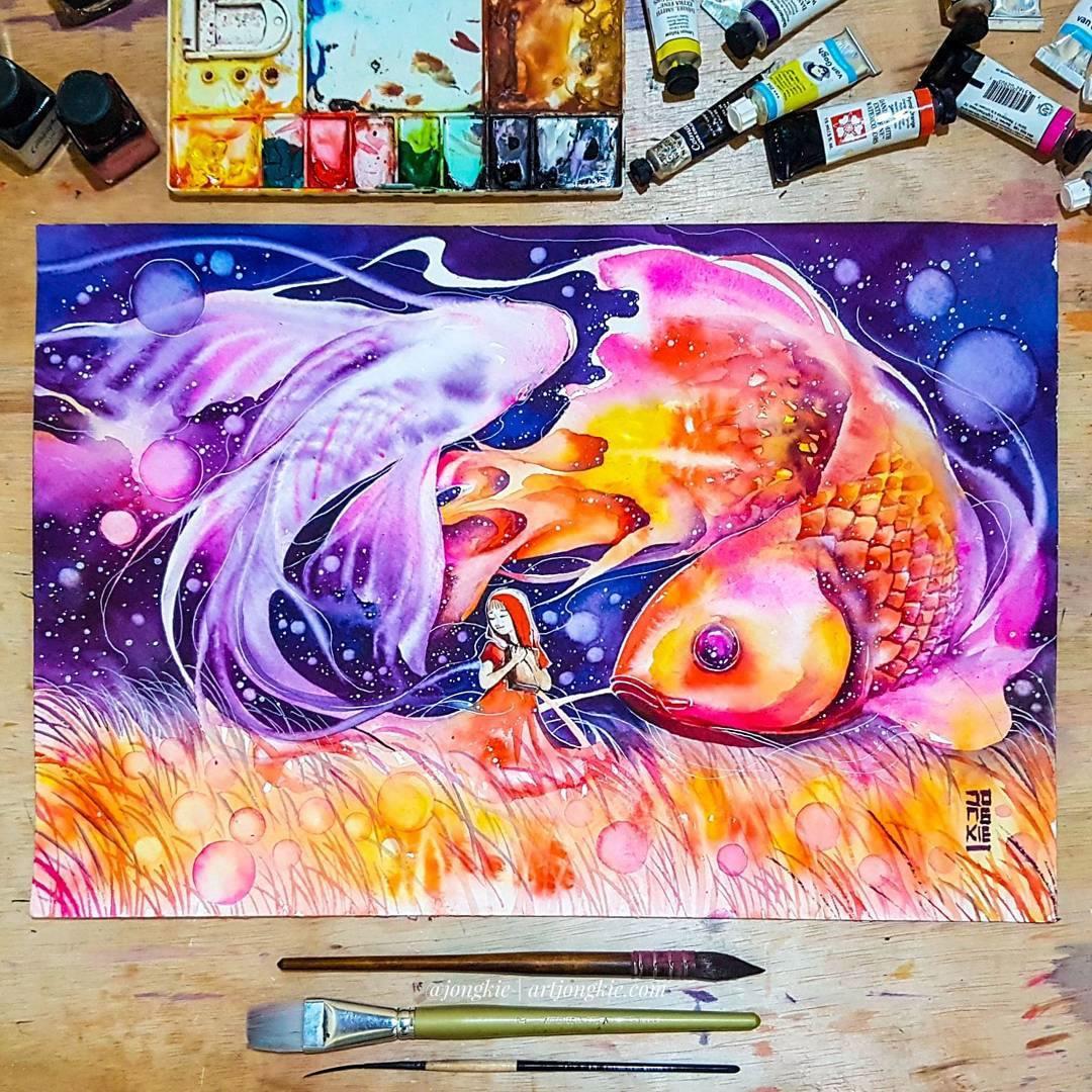 [Aquarelles] Les illustrations d'animaux magnifiquement colorées de Jongkie 6