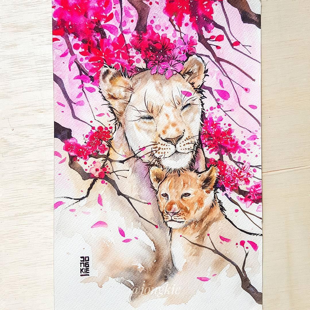 [Aquarelles] Les illustrations d'animaux magnifiquement colorées de Jongkie 7