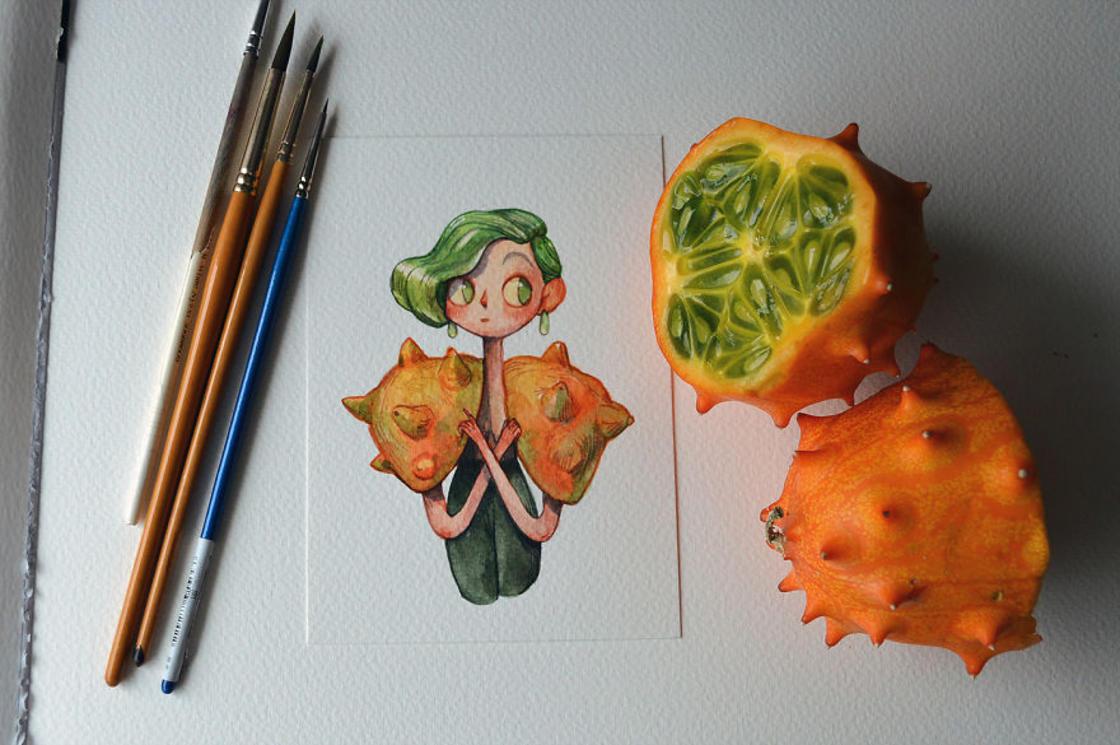 [Peinture] Des petites fées en aquarelle en forme de Fruits 8
