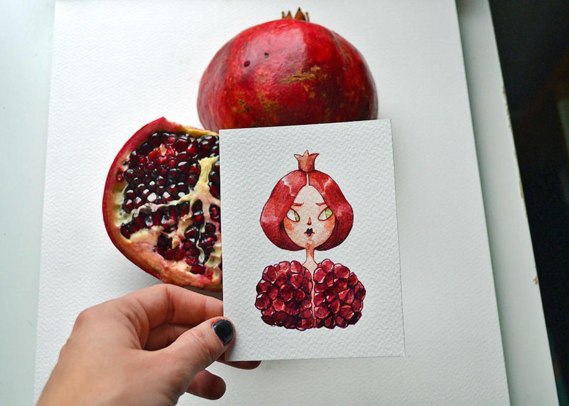 [Peinture] Des petites fées en aquarelle en forme de Fruits 7