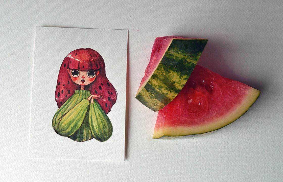[Peinture] Des petites fées en aquarelle en forme de Fruits 9