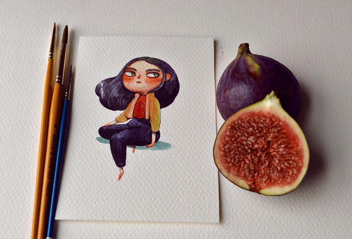 [Peinture] Des petites fées en aquarelle en forme de Fruits 4