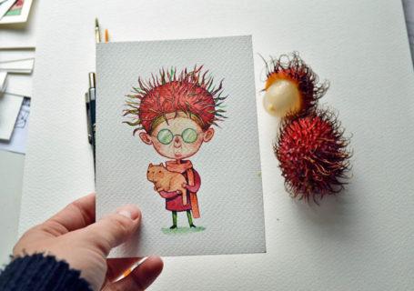 [Peinture] Des petites fées en aquarelle en forme de Fruits