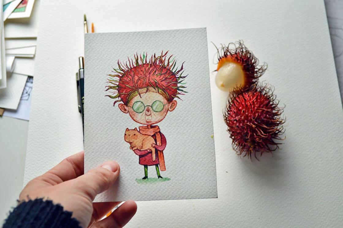 [Peinture] Des petites fées en aquarelle en forme de Fruits 2