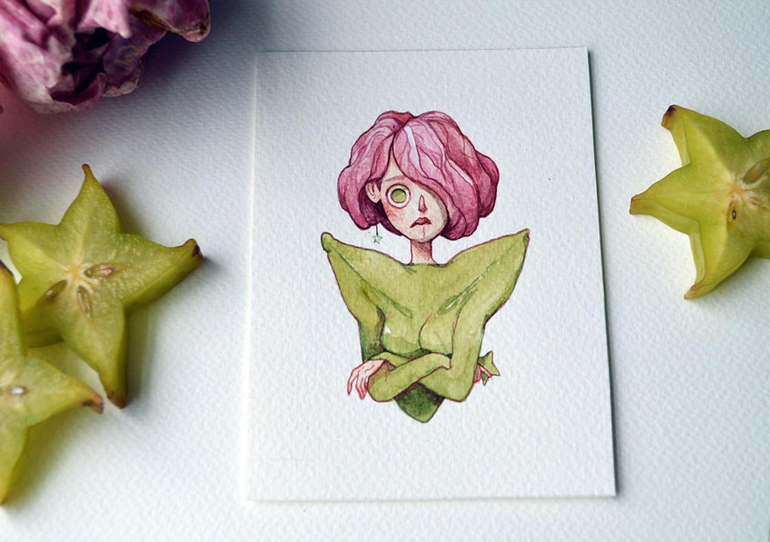 [Peinture] Des petites fées en aquarelle en forme de Fruits 5