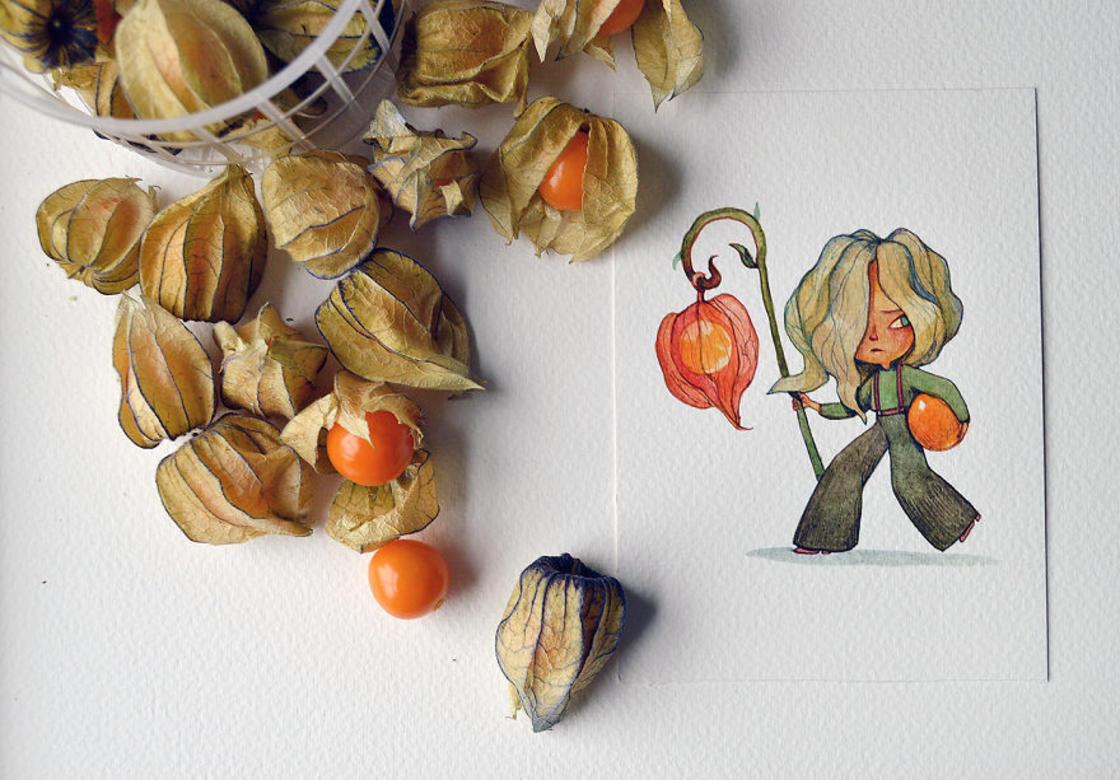 [Peinture] Des petites fées en aquarelle en forme de Fruits 3