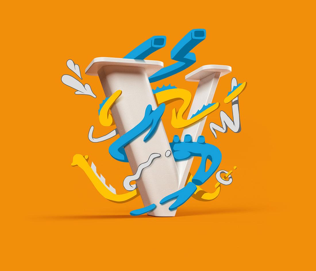 [Inspiration] Un Alphabet Cartoon acidulé et coloré en 3D 25