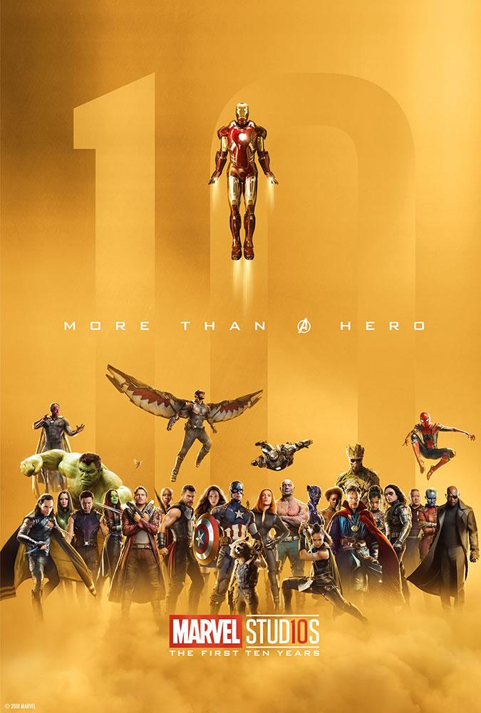 Marvel fête ses 10 ans avec une série de posters en OR 14
