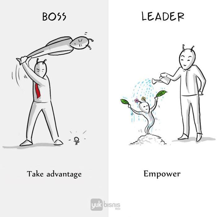 Illustration de la différence entre un BOSS et un LEADER 7