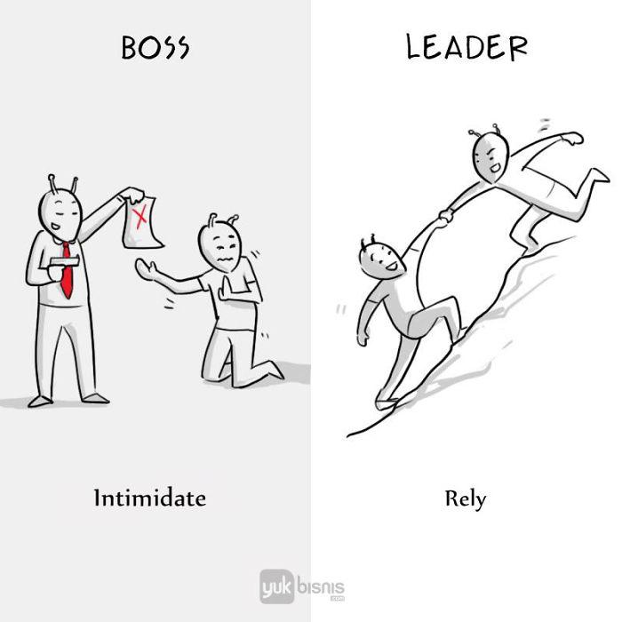 Illustration de la différence entre un BOSS et un LEADER 8