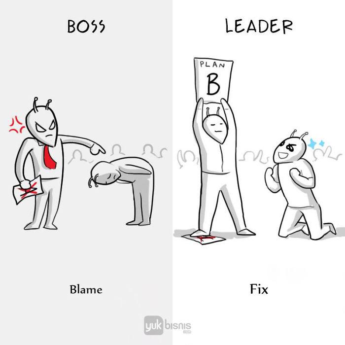 Illustration de la différence entre un BOSS et un LEADER 9