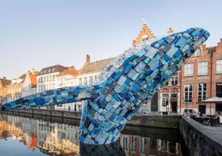 [StreetArt] Une baleine géante à Bruges avec des déchets 1