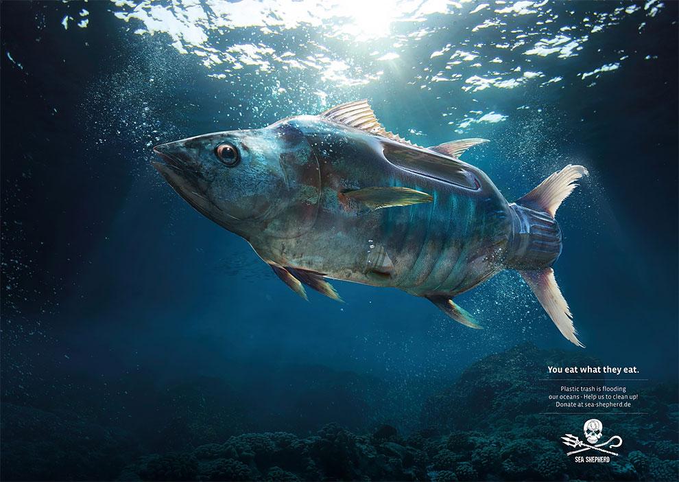 Court métrage fascinant où les animaux des océans sont mi-animaux mi-pollution 3