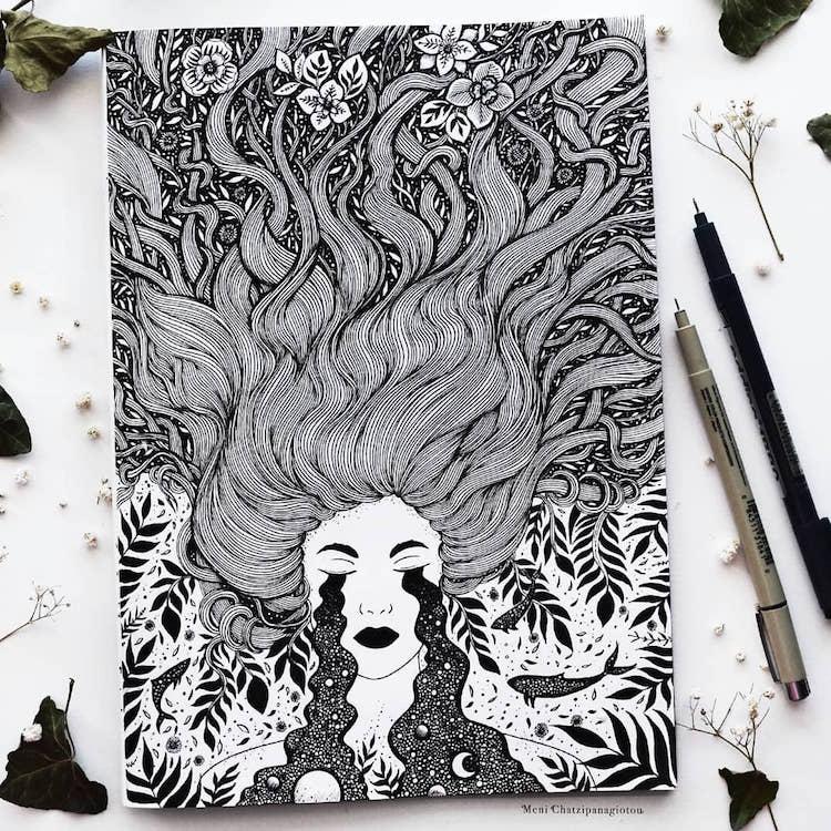 Des illustrations à l'encre en noir et blanc magnifiques 12